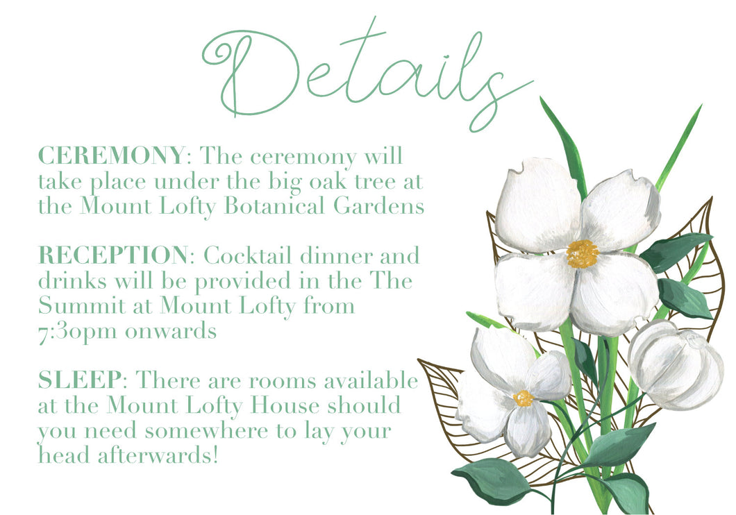Green and white floral information card.