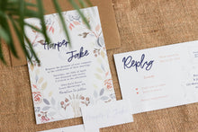 Load image into Gallery viewer, Floral invitation, tag and RSVP card laid out with an envelope.