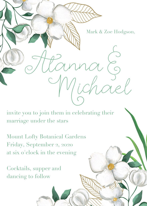 Green and white floral wedding invitation with green writing.