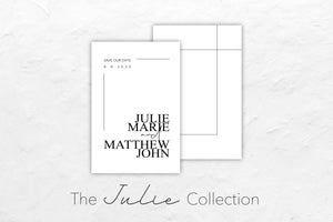 The Julie Collection is simplicity at its best, with a timeless black and white contemporary look.