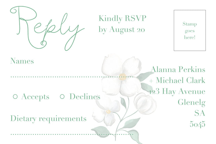 Green and white floral RSVP postcard with green writing.