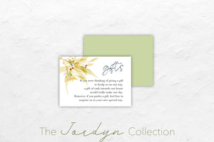 The Jordyn Collection features an autumn floral theme with beautiful greens, oranges, blues and yellows.