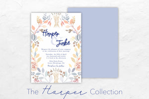 The Harper Collection boasts a beautiful spring-themed floral look with soft blue, yellow and orange tones.