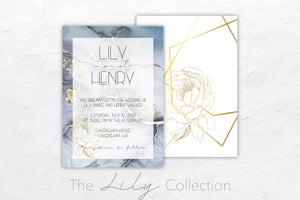 The Lily Collection has a Gatsby theme and features beautiful blues and golds.
