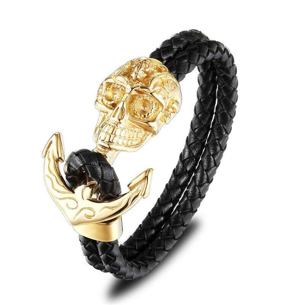 Bracelet Ancre Cuir Homme Or