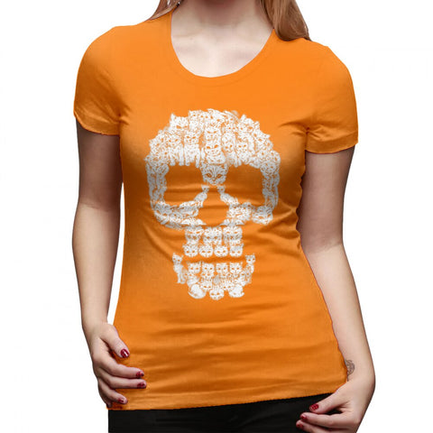 T-Shirt Orange Tête de Mort