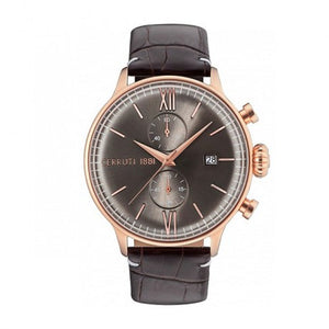 Montre Chrono Acier IP Rose Bracelet Cuir Marron by Cerruti 1881