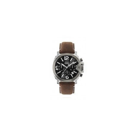 Montre Chrono Acier Bracelet Cuir Marron by Cerruti 1881