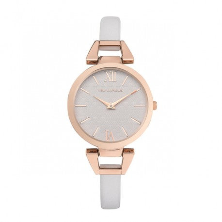 Montre Acier IP Rose Bracelet Cuir Blanc by Ted Lapidus