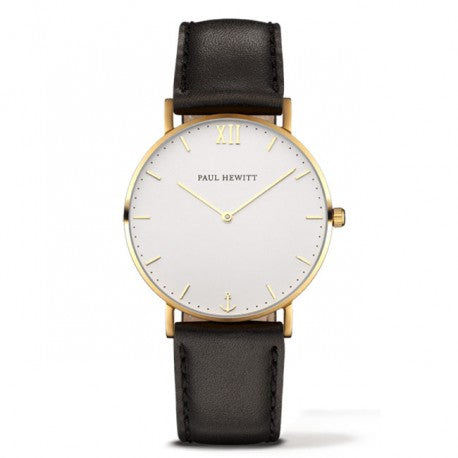 Montre Sailor Line IP Dore Bracelet Cuir Noir by Paul Hewitt