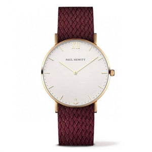 Montre Sailor Line IP Dore Bracelet Perlon Prune by Paul Hewitt