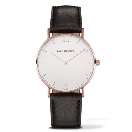Montre Sailor Line Rose Bracelet Cuir Noir by Paul Hewitt