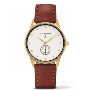 Montre Signature Line IP Dore Bracelet Cuir Marron by Paul Hewitt