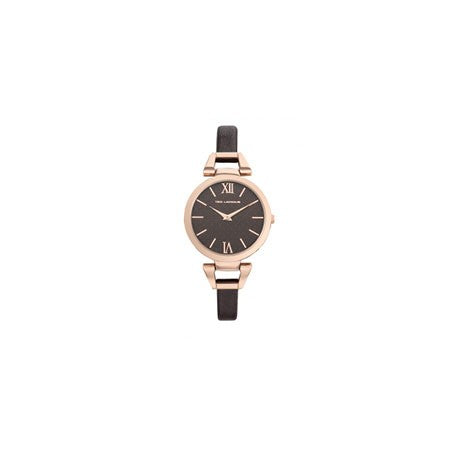 Montre Acier IP Rose Bracelet Cuir Marron by Ted Lapidus
