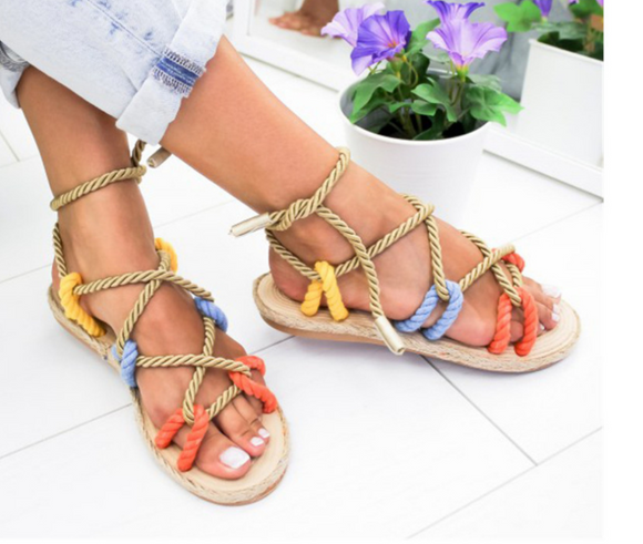 Flat bottom hemp sandals
