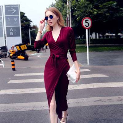 V-neck Tie Waist Slim Dress