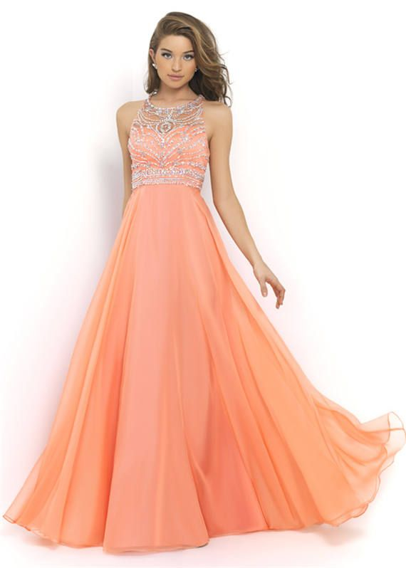 Coral/Blue Sparkly Prom Dress