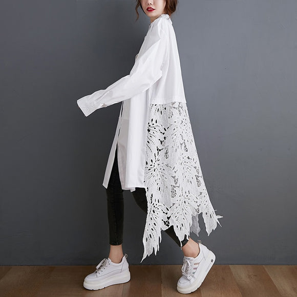 2021 Attractive See Through Embroidered Long White Kimono / Cardigan (Plus Size Available)