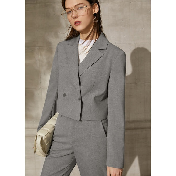 Minimalism Spring New Women's Solid Lapel Suit