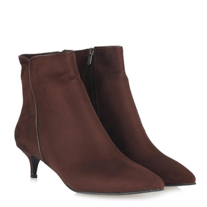 Women's Brown Suede Low Heeled Boots