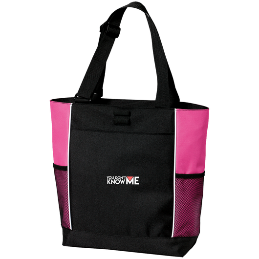 You Don't Know Me Logo Colorblock Zipper Tote Bag (Tropical Pink)