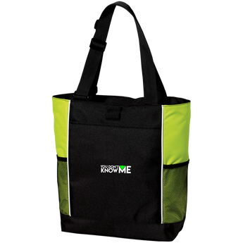 You Don't Know Me Logo Colorblock Zipper Tote (Lime)