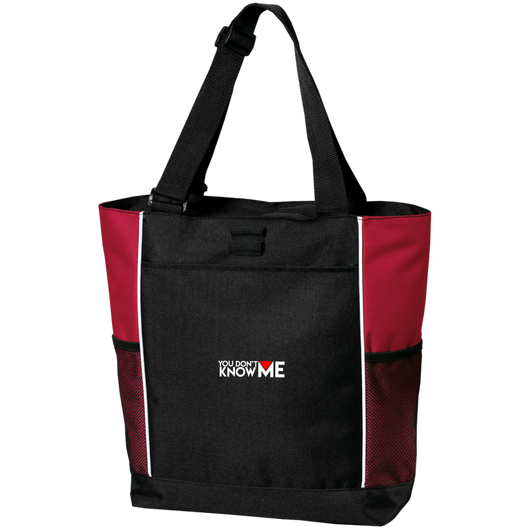 You Don't Know Me Logo Colorblock Zipper Tote Bag (Red)