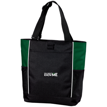 You Don't Know Me Logo Colorblock Zipper Tote Bag (Hunter Green)