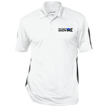 You Don't Know Me Logo Performance Textured Three-Button Polo