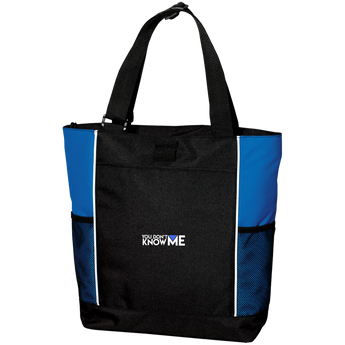 You Don't Know Me Logo Colorblock Zipper Tote Bag (Royal Blue)