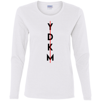 YDKM Vert Stroke -  Ladies' Cotton LS T-Shirt {8 Colors}