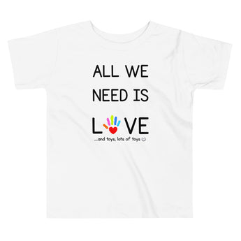 YDKM KIDS - All We Need Is Love - (Unisex) Toddler Short Sleeve Tee {White}