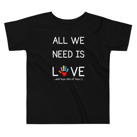 YDKM KIDS - All We Need Is Love - (Unisex) Toddler Short Sleeve Tee {Black}