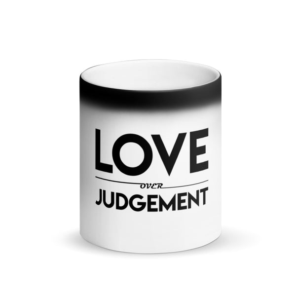 Love Over Judgement Matte Black Magic Mug