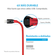 Cable PowerLine+ Lightning 0.9m Rojo