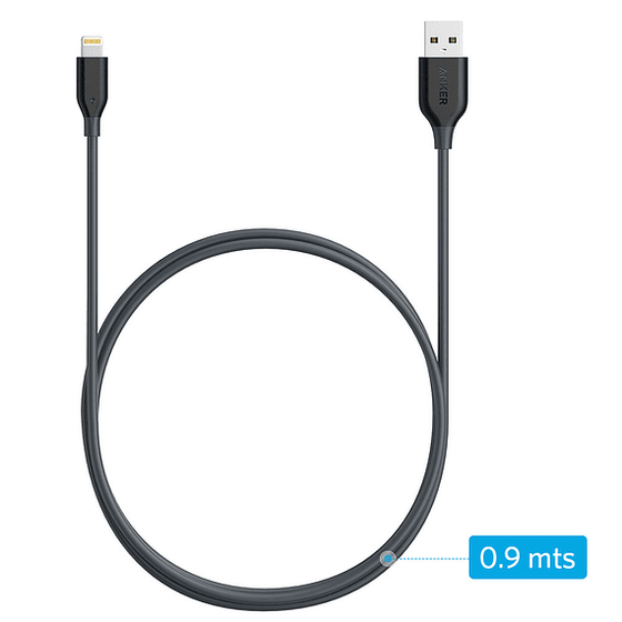 Cable USB PowerLine Lightning 0.9m Gris
