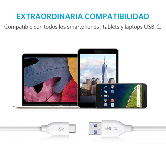 Cable PowerLine USB-C a USB-A 3.0 0.9m Blanco