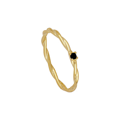 Anillo Twist Black Gold