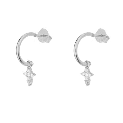 Cala White Silver Earrings