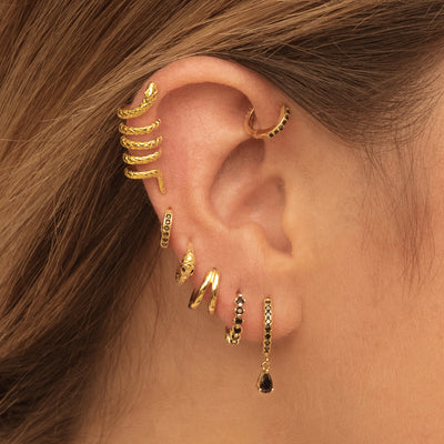 Black Snake Gold Earrings