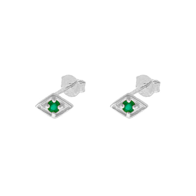 Sia Green Silver Earring