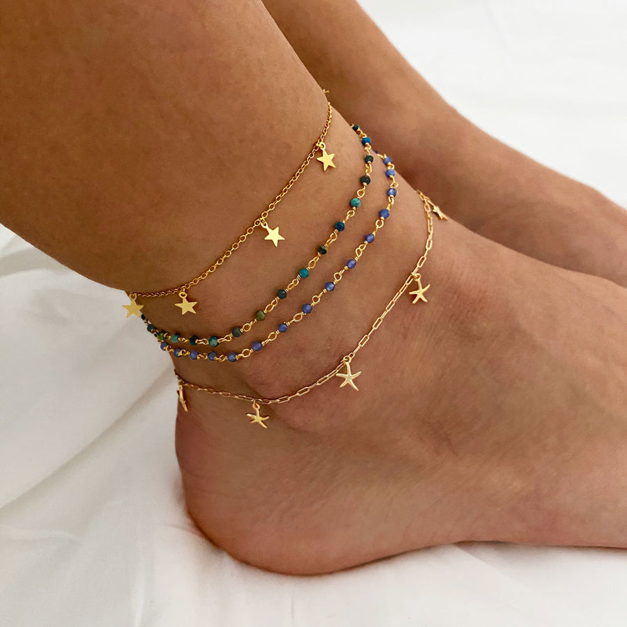 Lima Chrysocolla Gold Anklet