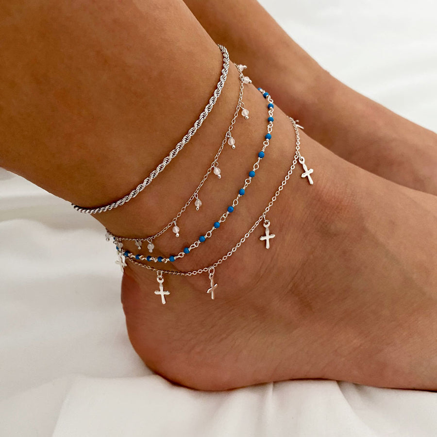 Lima Turquoise Silver Anklet