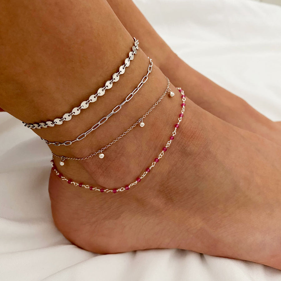 Lima Pink Silver Anklet