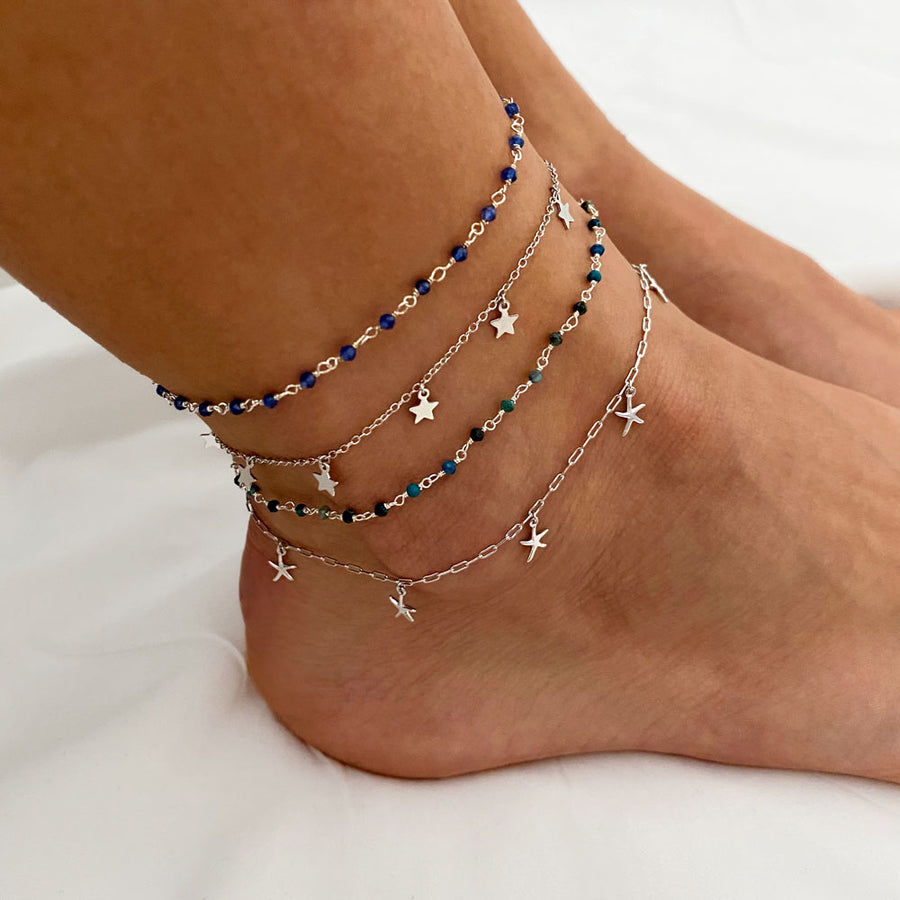 Lima Chrysocolla Silver Anklet