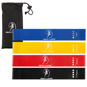 Loop Resistance Bands - 4 pack - 12x2inch - Light to Extra Heavy Resistance