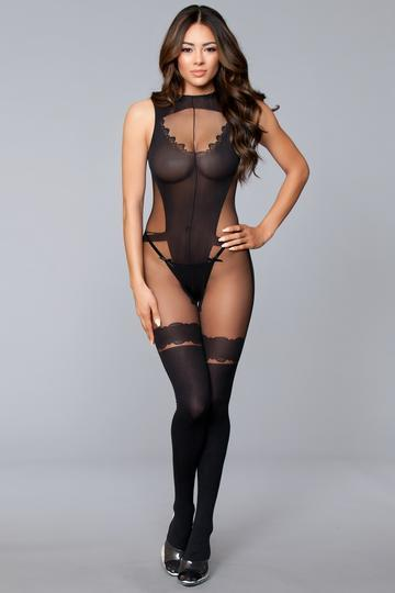 Open Low Back Bodystocking Crotchless Faux Thigh Highs O/S