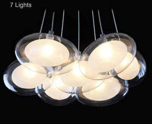 Daytrends 7light Wholesale Modern Led oval egg glass ball Pendant Light 110-240V Clear Glass Led Pendant Light bar dining room light