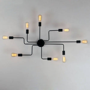 Daytrends Black Metal Steel Art Flush Mount Ceiling light with 8 Lights