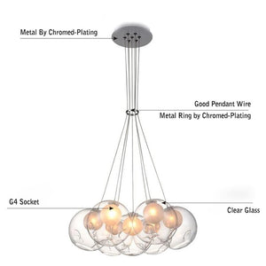 Daytrends Nordic Modern LED Double-Deck Glass Ball Pendant Lights G4 Bulb Hall Light 12/15cm Glass ball Pendant Lamp Fixtures